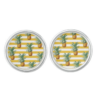 pinepples yellow stripes cufflinks