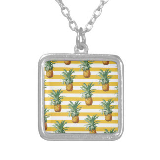 pinepples yellow stripes silver plated necklace
