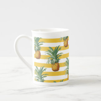 pinepples yellow stripes tea cup