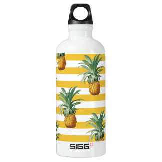 pinepples yellow stripes water bottle