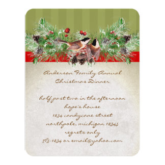 Pinery Vintage Birds Christmas Dinner Party Invite