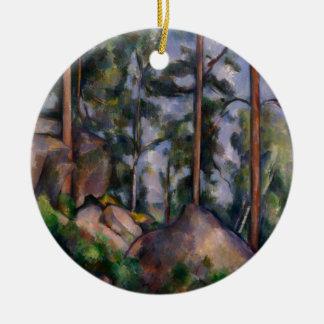 Pines and Rocks (Pins et Rochers) Paul Cézanne Round Ceramic Ornament