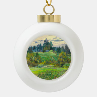 Pines Ceramic Ball Christmas Ornament