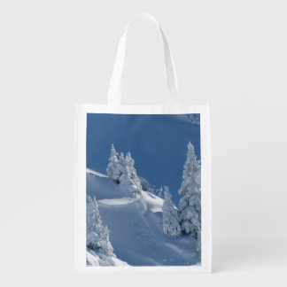 Pines Covered with Snow Reusable Grocery Bag