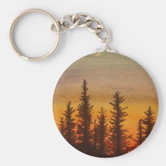 Pinetree Sunset Basic Round Button Keychain