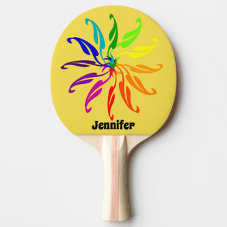 Ping Pong Paddle - Color Wheel Leaves and Name