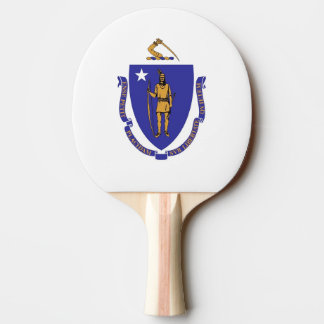Ping pong paddle with Flag of Massachusetts, USA
