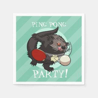 Ping Pong Party! Table Tennis Bearcat Cartoon Paper Napkins