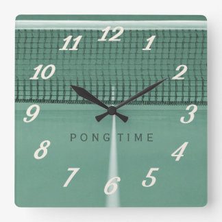Ping Pong Time Green Table Tennis Wall Clock