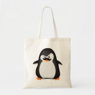 Pingouin blanc noir mignon et moustache drôle sac en toile budget