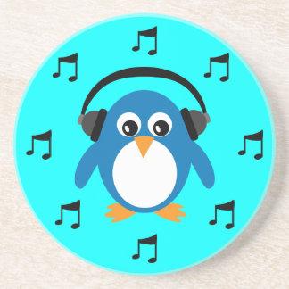 Pingouin bleu du DJ, écouteurs et notes musicales Dessous De Verre