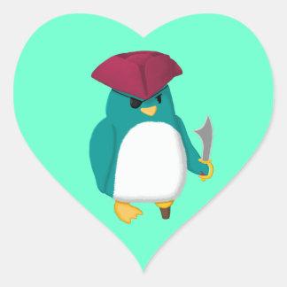 Pingouin de pirate sticker cœur