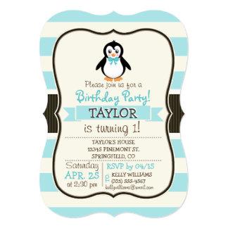 Pingouin mignon avec la turquoise Bowtie Carton D'invitation 12,7 Cm X 17,78 Cm
