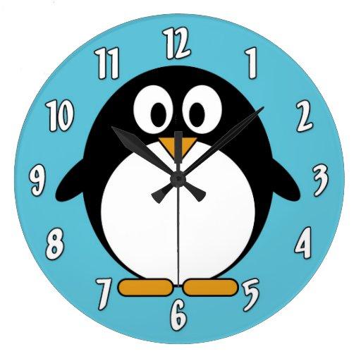 Pingouin mignon de bande dessinée pendules