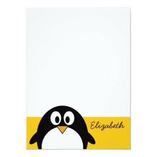 Pingouin mignon et moderne de bande dessinée invitation personnalisée