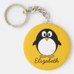 Pingouin mignon et moderne de bande dessinée porte-clés