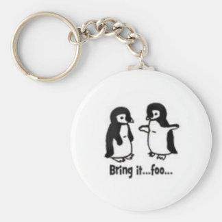 Pingouins drôles porte-clé