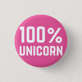 Pink 100% Unicorn Badge Pin Button
