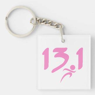 Pink 13.1 half-marathon Single-Sided square acrylic keychain