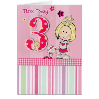 Pink 3 Today! Birthday Card