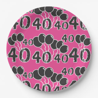 PINK 40th Birthday 9 Inch Paper Plate