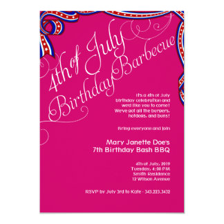 Pink 4th of July BBQ Birthday Party Card