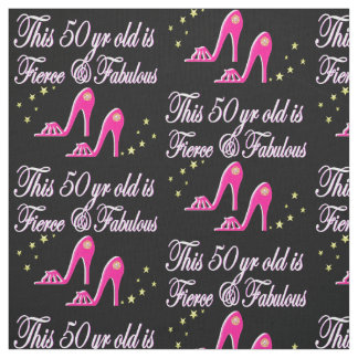 PINK 50 AND FABULOUS BIRTHDAY DESIGN FABRIC
