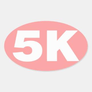 Pink 5 K Runner Oval Oval Sticker