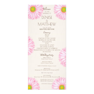 Pink 70's Gerbera Wedding Program