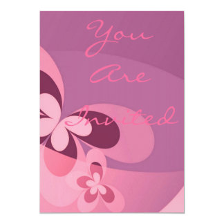 """Pink Abstract Butterfly 5"""" X 7"""" Invitation Card"""