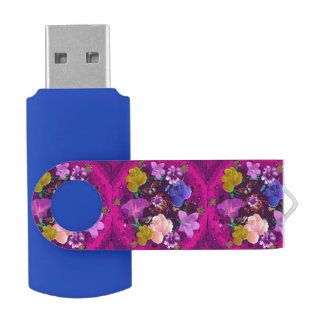 Pink Abstract Floral Blue Swivel USB Flash Drive Swivel USB 2.0 Flash Drive