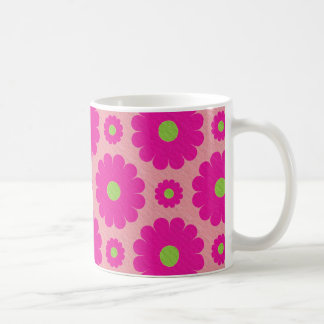Pink abstract floral design coffee mug