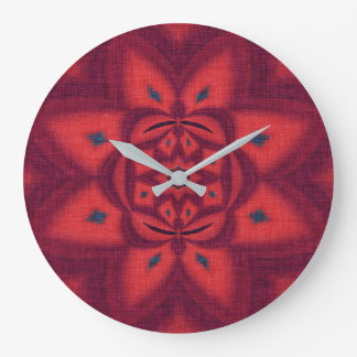 Pink Abstract Flower Large Clock