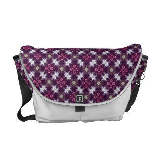 Pink Abstract Flower Pattern Messenger Bags
