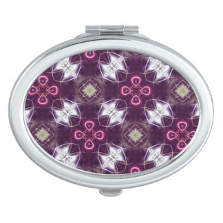 Pink Abstract Flower Pattern Mirror For Makeup