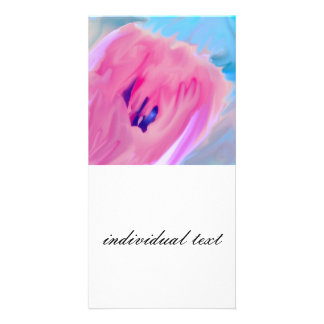 pink abstract flower customized photo card