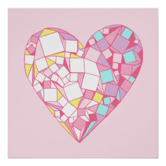Pink Abstract Geometric Heart Drawing Poster