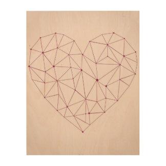 "Pink Abstract Heart 11""x14"" Wood Wall Art Wood Print"