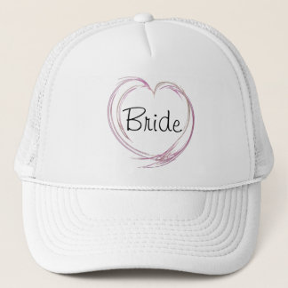 Pink Abstract Heart Bride Wedding Trucker Hat