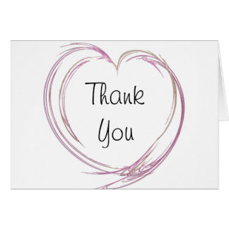 Pink Abstract Heart Bridesmaid Thank You Note Card