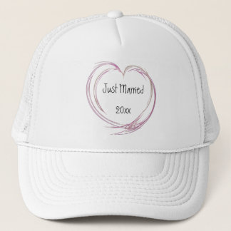 Pink Abstract Heart Just Married Trucker Hat