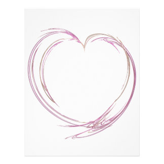 Pink Abstract Heart Letterhead