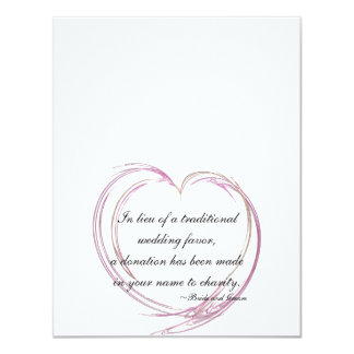 "Pink Abstract Heart Wedding Charity Favor Cards 4.25"" X 5.5"" Invitation Card"