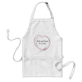 Pink Abstract Heart Wedding Standard Apron