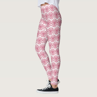 Pink Abstract Snowflake ~ Winter Frost ~ Leggings
