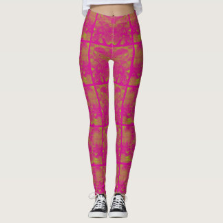 Pink abstract square hints of lime green leggings