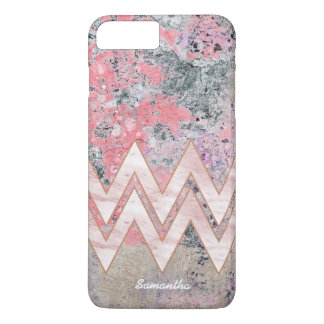 Pink Abstract Texture with Chevrons and Name iPhone 8 Plus/7 Plus Case