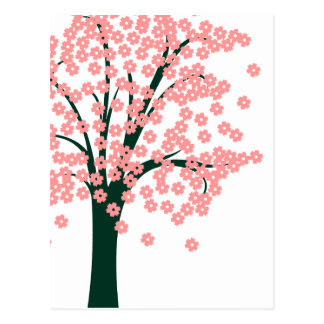 Pink Abstract Tree Postcard