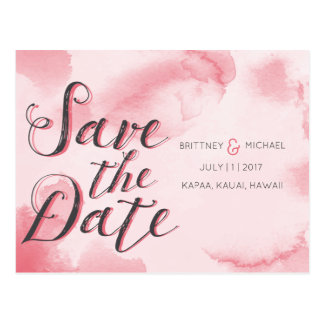 Pink Abstract Watercolor | Save the Date Postcard