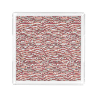 Pink abstract waves pattern. Sea texture. Acrylic Tray